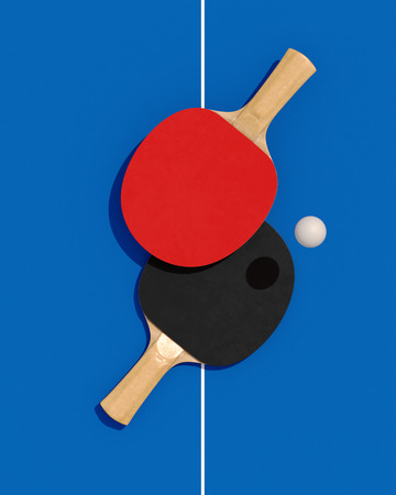 Two table tennis or ping pong rackets and ball on a table with net 3d illustration Banque d'images