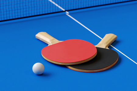 Two table tennis or ping pong rackets and ball on a table with net 3d illustration Stock Photo