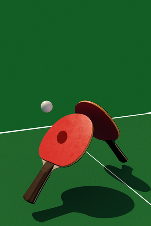 Two table tennis or ping pong rackets and ball on a green table with net 3d illustration Stockfoto