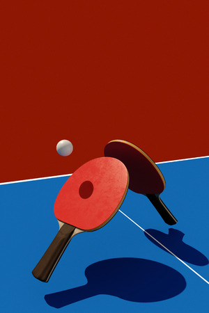 Two table tennis or ping pong rackets and ball tournament poster design