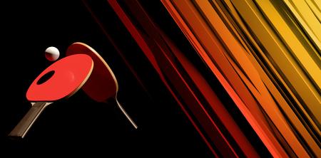 Due racchette da ping-pong e cartellonistica torneo tornei Archivio Fotografico - 97547919
