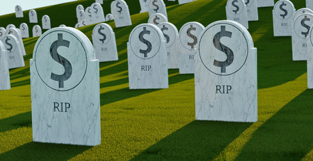 cemetery with bit coin graves. 3d illustration. Concept of bit coin collapse. Rip