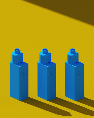 Stylish electronic cigarettes. blue and yellow colors. Minimalism design poster. 3D illustration