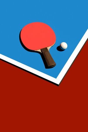 Table tennis or ping pong racket and ball tournament poster design 3d illustration Stock Photo
