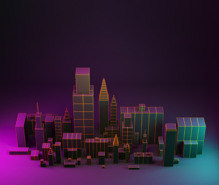 3d illustration. Night city layout illustration with neon glow and vivid colors. Stock Photo