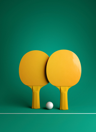 Two table tennis  rackets and ball tournament poster design 3d illustration Reklamní fotografie