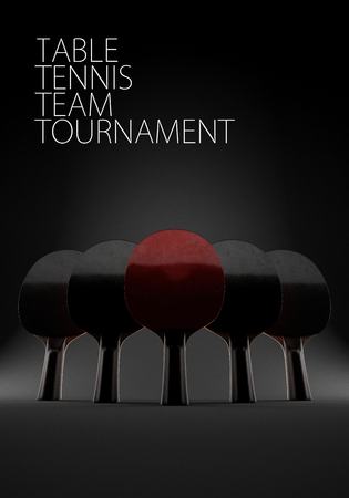 Five rackets for playing table tennis on epic black background. 3d illustration. With copy space. Concept of team. Stock Photo