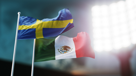 3D Illustration. Two national flags waving on wind. Night stadium. Championship 2018. Soccer. Sweden versus Mexico Banco de Imagens