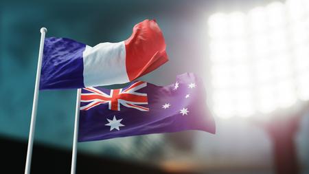 3D Illustration. Two national flags waving on wind. Night stadium. Championship 2018. Soccer. France versus Australia