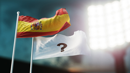 3D Illustration. Two flags waving on wind. Question mark and Spain. Night stadium. Championship 2018. Soccer. Bookmaker forecast concept