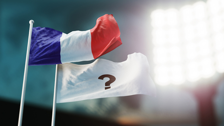3D Illustration. Two flags waving on wind. Question mark and France. Night stadium. Championship 2018. Soccer. Bookmaker forecast concept