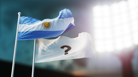 3D Illustration. Two flags waving on wind. Question mark and Argentina. Night stadium. Championship 2018. Soccer. Bookmaker forecast concept