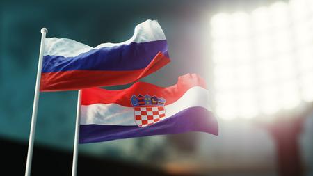 3D Illustration. Two national flags waving on wind. Night stadium. Championship 2018. Soccer. Russia versus Croatia Stock Photo
