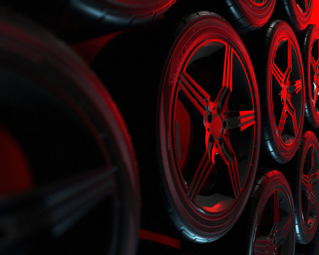 Car wheels set on red background. Poster design. Stack. 3d illustration.
