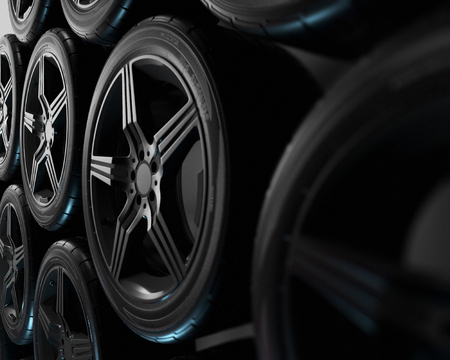 3d illustration. Four car wheels on black background. Poster or cover design. Stockfoto