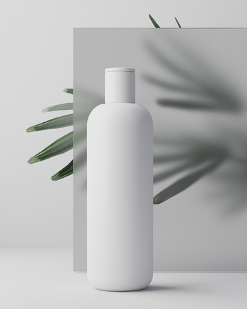 White design of natural cosmetic cream , serum, skincare blank bottle packaging with leaves herb, bio organic product. beauty and spa concept. 3d illustartion. Herbal dermatology cosmetic hygienic cream skincare product in plastic jar on white glass background in bathroom