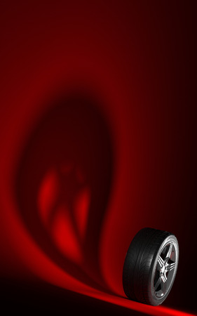 Car wheel isolated on a red background. Tyre. Poster booklet cover design. Ghost shadow. 3d illustration Banco de Imagens