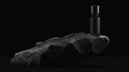 bottle of essential massage oil on stone - beauty treatment. Minimal Black design packaging mock up. 3d illustration. Stockfoto