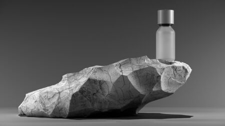 bottle of essential massage oil on stone - beauty treatment. Minimal white design packaging mock up. 3d illustration.