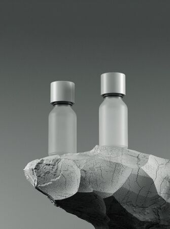Two bottles of essential massage oil on stone - beauty treatment. Minimal white design packaging mock up. 3d illustration. Banco de Imagens
