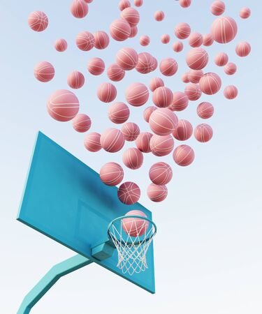 abstract pastel pink blue color basketball court with hoop and ball minimalistic composition. 3d render