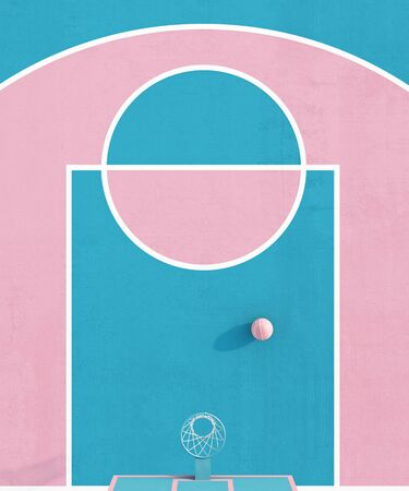 Aerial view abstract pastel pink blue color basketball court with hoop and ball minimalistic composition. 3d render Фото со стока