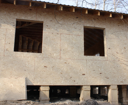 without window: almost complete wooden cabin without window frames