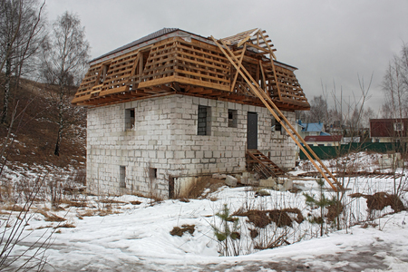 rafters: Building block house with two floors for one family.Koltushi , Leningrad region , Russia .