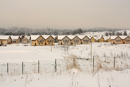 drifts: small country houses with snowy roofs in drifts on  background of  winter forest and overcast sky.Tokkari village , Leningrad region , Russia .