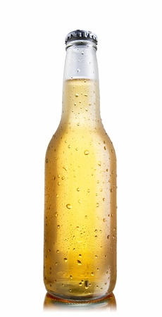 bottle cap: Non-glossy white beer bottle, back lighted showing a glowing golden beer content, drops and condensation, lower angle shoot