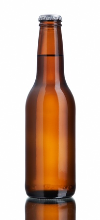 beer bottle: Glossy brown beer bottle, back lighted