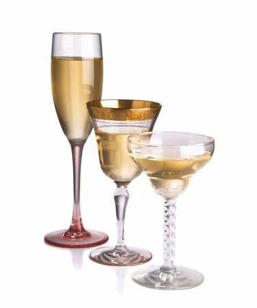 Three different champagne glasses between vintage and contemporary photo