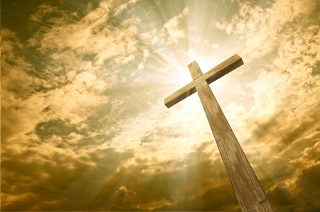 resurrected: cross against the sky  Stock Photo