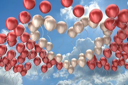 heart symbol, flying colorful balloons