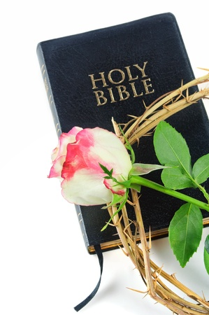 holy bible and crown of thorns with  rose photo