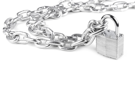 chains are closed on a lock on a white background photo