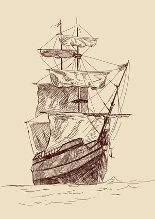 rope ladder: ilustraci�n de la vendimia barcos viejos