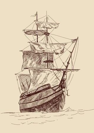 vintage old Ships illustration   Vector