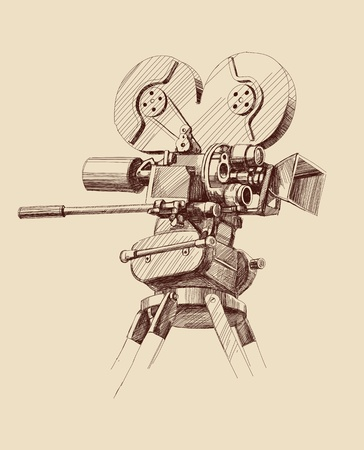 vintage old movie camera Vector