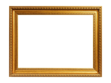 vintage photo frame: antique gold frame isolated on a white background Stock Photo