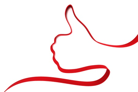 Thumb up hand from ribbons isolated on white background photo