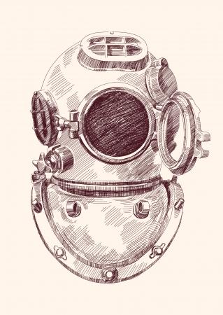 Antieke duikers helm Stockfoto