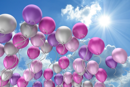 silver frame: flying colorful balloons in the sky