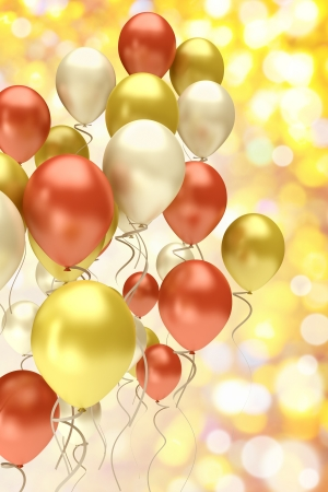 flying colorful balloons on a festive background Stock Photo