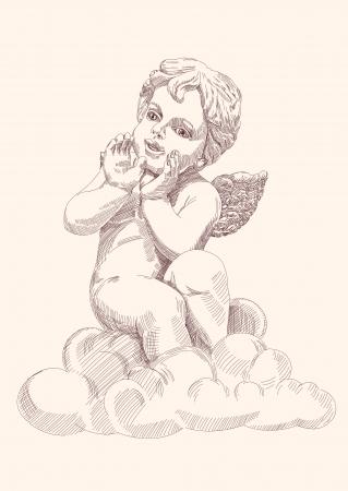 cupids: angel or cupid isolated  Illustration