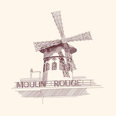 windmolen: Moulin Rouge, Parijs Stock Illustratie