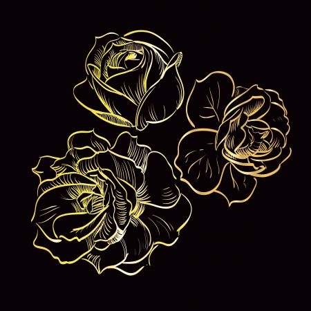 gold rose on black background Stock Vector - 14298448