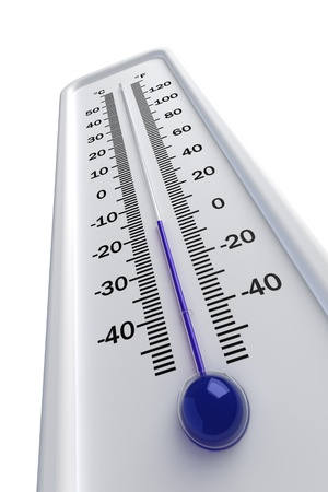 below: thermometer, cold Isolated on white background Stock Photo