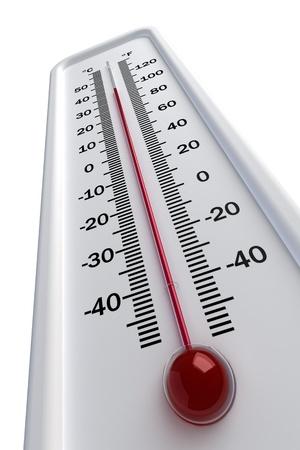 thermometer, warm Geïsoleerd op witte achtergrond Stockfoto
