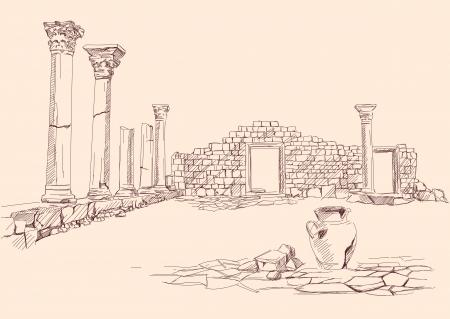 vasi greci: Rovine del tempio, - archeologia disegnata a mano